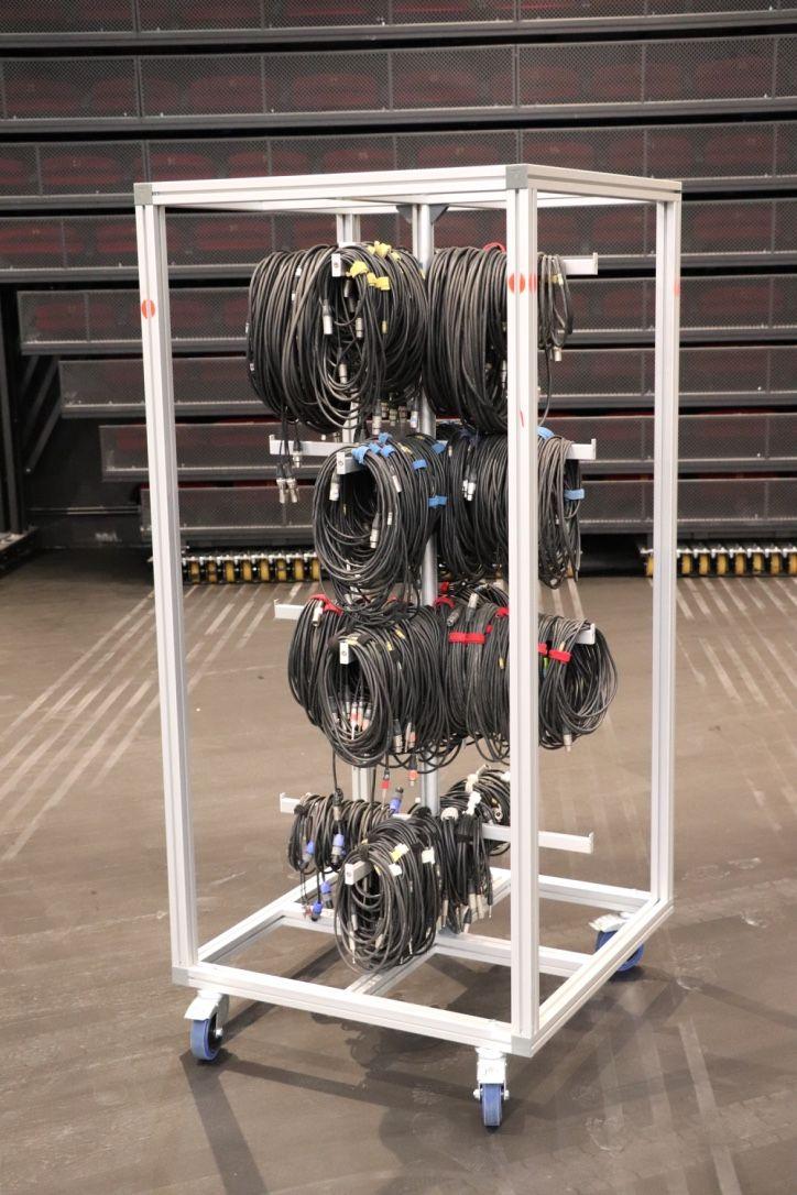 Chariot en profilé aluminium pour le transport de câblages.